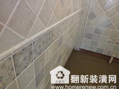 佳园装潢:厕所间墙面瓷砖工艺